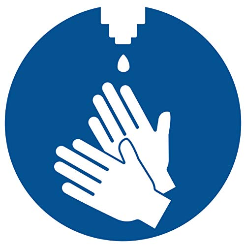 HERMA 12928 Hinweis Aufkleber Hände desinfizieren 20er Set (Ø 10 cm, 5 Blatt, Polyesterfolie) selbstklebend, wetterfest, rückstandsfrei ablösbare Hinweisschilder, blau