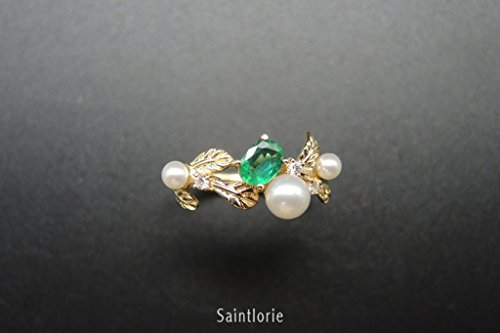 0.3 Carat Emerald Ring With Pearl (0.30 Ct Pear Diamond)