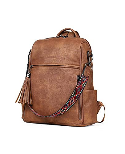 FADEON Leather Backpack Purse for Women Designer Ladies Shoulder Bag Fashion Convertible Travel Backpack Purses