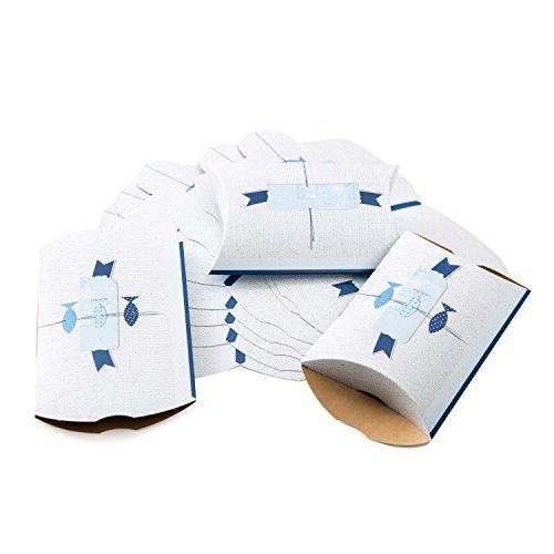 Logbuch-Verlag 25 kleine blau weiße Fische Schachteln Verpackung Gastgeschenk Kommunion Taufe Mitgebsel Kinder maritime Deko mini Karton