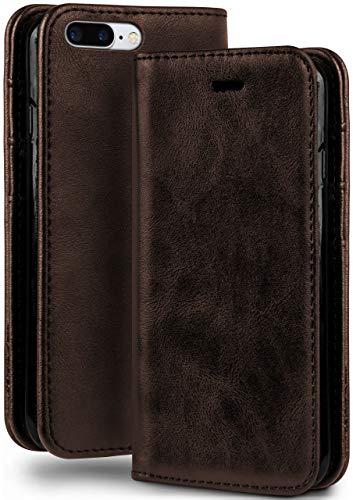 moex Booklet in Lederoptik - Kartenfächer & Aufstellfunktion kompatibel mit iPhone 7 Plus/iPhone 8 Plus | Eleganter 360 Grad Vollschutz, Dunkel-Braun