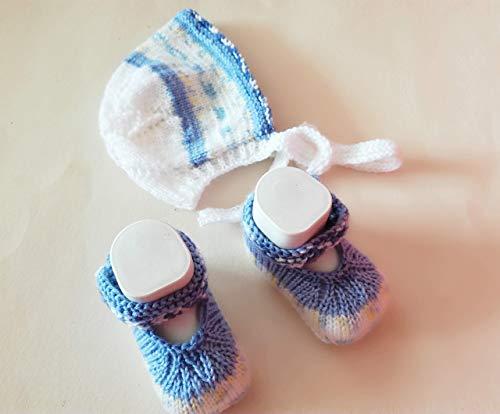 Babyschuhe und Babyhaube, Babymütze im Set für die Kleinsten, Taufkleidung, für neugeborene Buben