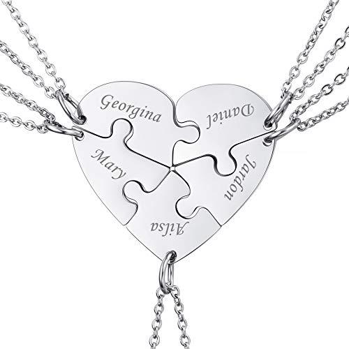 MeMeDIY Collar de Rompecabezas con Colgante de Corazón Personalizado Nombre para Parejas Hombres Mujeres Grabado para Novio Novia Conjunto de Amantes de Joyería para Amor Familiar Amistad (5 Piezas)