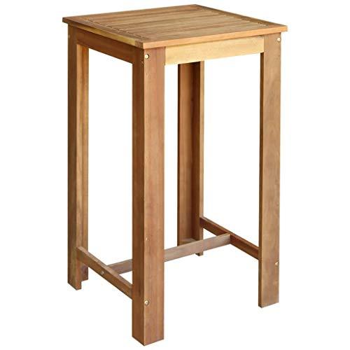 Galapara 1x Bartisch Bistrotisch Stehtisch Esszimmertisch Esstisch, Holztisch aus Akazienholz für Tresen Bar küche Balkon, Massivholz Küchentisch Vintage, Dunkelbraun 60 x 60 x 105 cm (L x B x H)