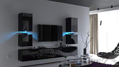 Home Direct Future 75 Modernes Wohnzimmer Wohnwand Wohnschrank Schrankwand Möbel Mediawand (Front: Schwarz Hochglanz/Korpus: Schwarz Matt (C75-HG-B1), RGB Beleuchtung (16 Farben))