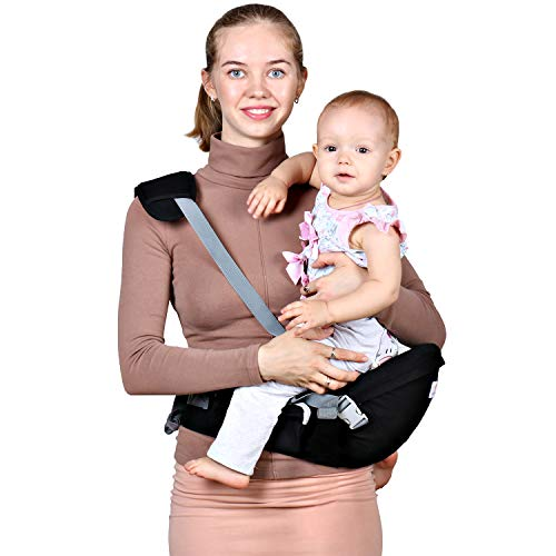 Baby Hip Seat Carrier Waist Stool - Safety Certified Back Pain Relief Soft Carrier (Ergonomic M Position), 100% Cotton for All Seasons, Child Infant Toddler, Perfect Baby Shower Gift