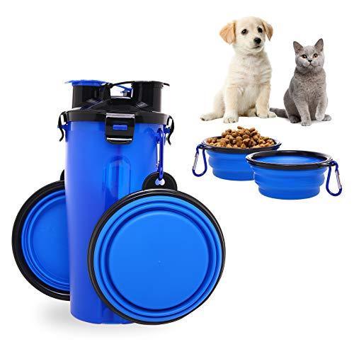 2-en-1 Perro Botella de agua Dispensador de alimentos con 2 plegables Cuencos...