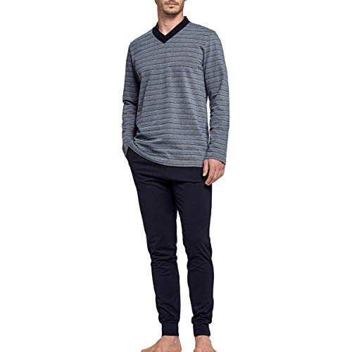 Impetus – Herren-Schlafanzug, lang, aus Baumwolle Gr. S, blau
