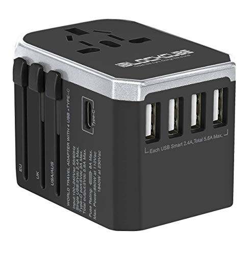 iBlockCube® Universal Travel Adapter All-in-one Travel Charger with 4 USB and 1 Typc C Charging Ports Surge Protected Universal Plug Compatible to 150+ Countries