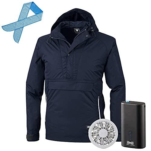 空調服 セット (4時間フルセット) ジーベック 長袖 ブルゾン フード付 膨らみ軽減 XE98018 色:コン サイズ:3L ファン色:グレー オリジナル冷感タオル付
