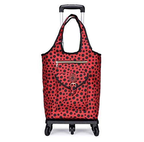 WYZXR 30l Large Capacity Shopping Trolley on Wheels,Lightweight Folding Shopping Cart,Utility Reusable Shopping Trolley Dolly with Waterproof Detachable Insulated Bag,adjustab