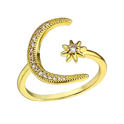 Alloy Plating 18k European and American Crescent Crescent New Creative Simple Engagement Accessories Diamond Open Ring (GOLD)
