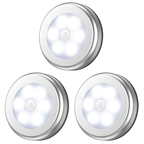 Luz Sensor Movimiento (6 LED Paquete De 3) Luz Noche LED Debajo del Gabinete con Almohadillas Adhesivas e Imán de 3M Luces de Sensor de Noche para Escalera Armario Cocina Etc,White
