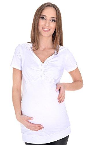 Mija - 2 en 1 Maternité et allaitement Blouse confortable ? manches courtes 3080 (EU 40, Blanc)