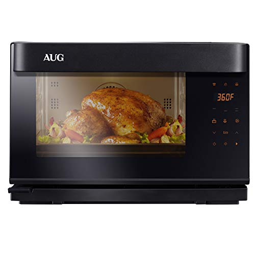 AUG Countertop Steam Oven with Convection and Grill, 8 Functions Combi, Black and Stainless Steel