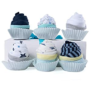 """INGREDIENTS: Each Gift Set includes 6 Lily and Page 100% premium cotton short sleeves onesies bodysuits, 3 pairs of adorable infant socks cupcake filling, handmade decorated Bakery Box with clear window and lots of love. (* Please note that our """"One ..."""