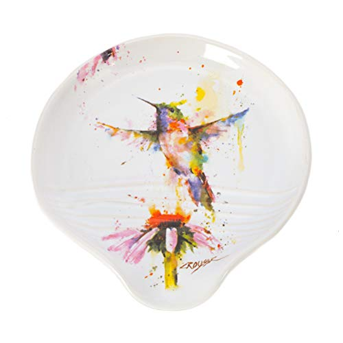Dean Crouser 5 x 5 Glossy Ceramic Stoneware Spoon Rest (Hummingbird Watercolor)