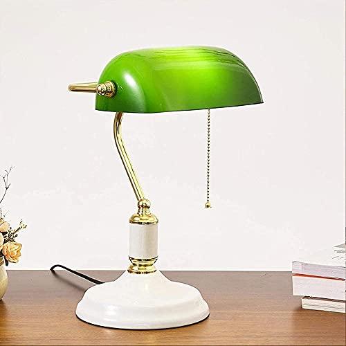 Lampada da tavolo Banker Banker Desk Lampada retrò Creativo Green Green Glass Brass Base in metallo E27 Lampada di studio del comodino con interruttore di tiro adatto per ufficio studio
