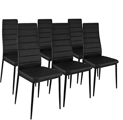 HomeSouth - Pack Seis sillas tapizadas símil Piel, Silla Color Negro Patas metalicas Negras, Medidas: 44 cm (Ancho) x 96 cm (Alto) x 42 cm (Fondo)