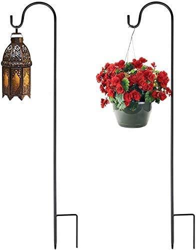 2PCS Schäferhaken, Metall-Gartenstecker mit Haken für Solarleuchten, Laternen, Weihnachtsbeleuchtung, Hochzeiten, Pflanzkörbe, Blumenkugel(100cm)