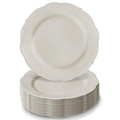 "DISPOSABLE DINNERWARE SET, 20 Dessert Plates (Vintage - Cream, 7.5"")"
