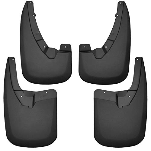 Husky Liners Fits 2009-18 Dodge Ram 1500, 2019 Dodge Ram 1500 Classic, 2010-18 Dodge Ram 2500/3500 - without OEM Fender Flares - SINGLE REAR WHEELS Custom Front and Rear Mud Guard Set