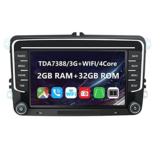 EUNAVI Android 9 Autoradio für VW Tiguan Golf Touran Skoda Kodiaq Octavia Superb, 2 Din Radio Navigationssystem: Bluetooth WiFi DSP, 7 Zoll HD Touchscreen 2G+32G USB sd GPS Free Camera