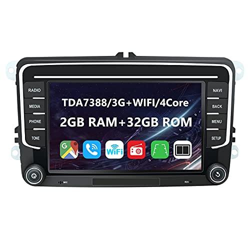 EUNAVI Android 9 Autoradio per VW Golf Touran Skoda Kodiaq Octavia Superb, sistema di navigazione radio 2 Din: Bluetooth WiFi DSP, touchscreen HD da 7 pollici 2G + 32G USB sd GPS. (7'2 + 32G)