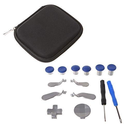 planuuik 14 Pieces/Set Swap Thumb Sticks analógicos Grips Stick D-Pad Parachoques Gatillo Botón Paletas Destornilladores Gamepad Reemplazo para Controlador inalámbrico Azul