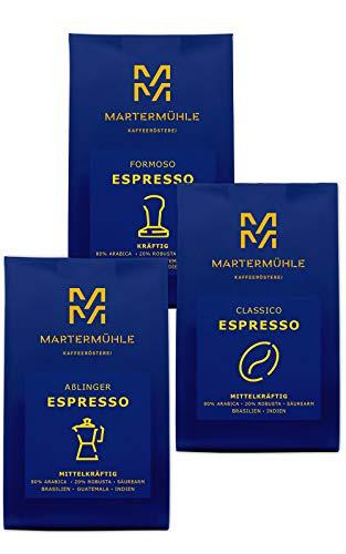 Martermühle | Espresso Probierset | (3 x 250g) | Ganze Bohnen | Premium Espressobohnen aus aller Welt | Schonend geröstet | Espresso säurearm | Arabica Robusta Mischung