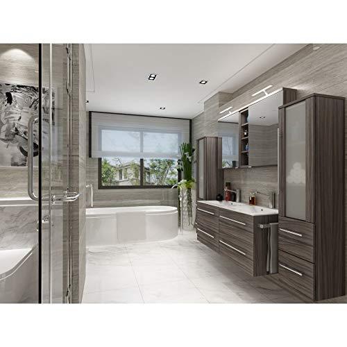 badmöbelset Badezimmer Möbel Set Mailand Eiche dunkel inkl. Doppel-Waschbecken Doppel-Spiegelschrank und 2 x Hochschrank