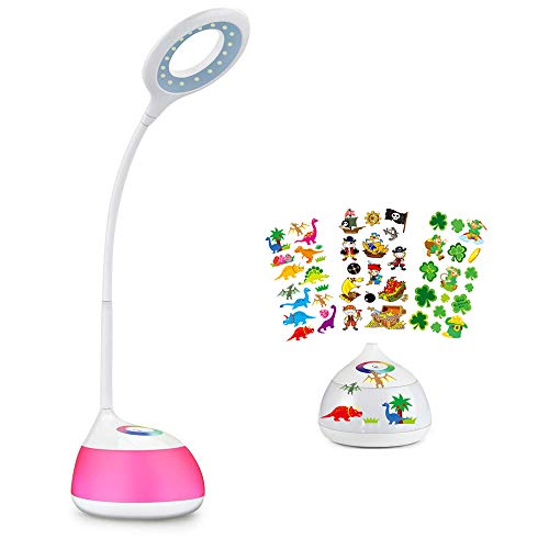 Lámpara para escritorio, LED de colores regulable, LED, 3 niveles de brillo (leer, estudiar y relajarse), brazo flexible, control táctil, puerto USB, Base Height 3.27 Inch, R2 3.20watts 5.00volts