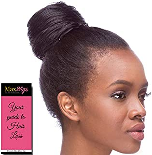 Draw String Swirl Hair Piece Color 1B Off Black - Sepia Wigs Swirly Synthetic African American Bun Updo Formal Length Womens Coil Trenza Peluca Bundle MaxWigs Hairloss Booklet