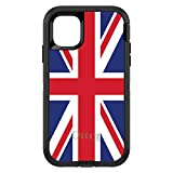 DistinctInk Case for iPhone 12 Pro MAX (6.7' Screen) - OtterBox Defender Custom Black Case - Red White Blue British Flag UK - Show Your Love of The UK