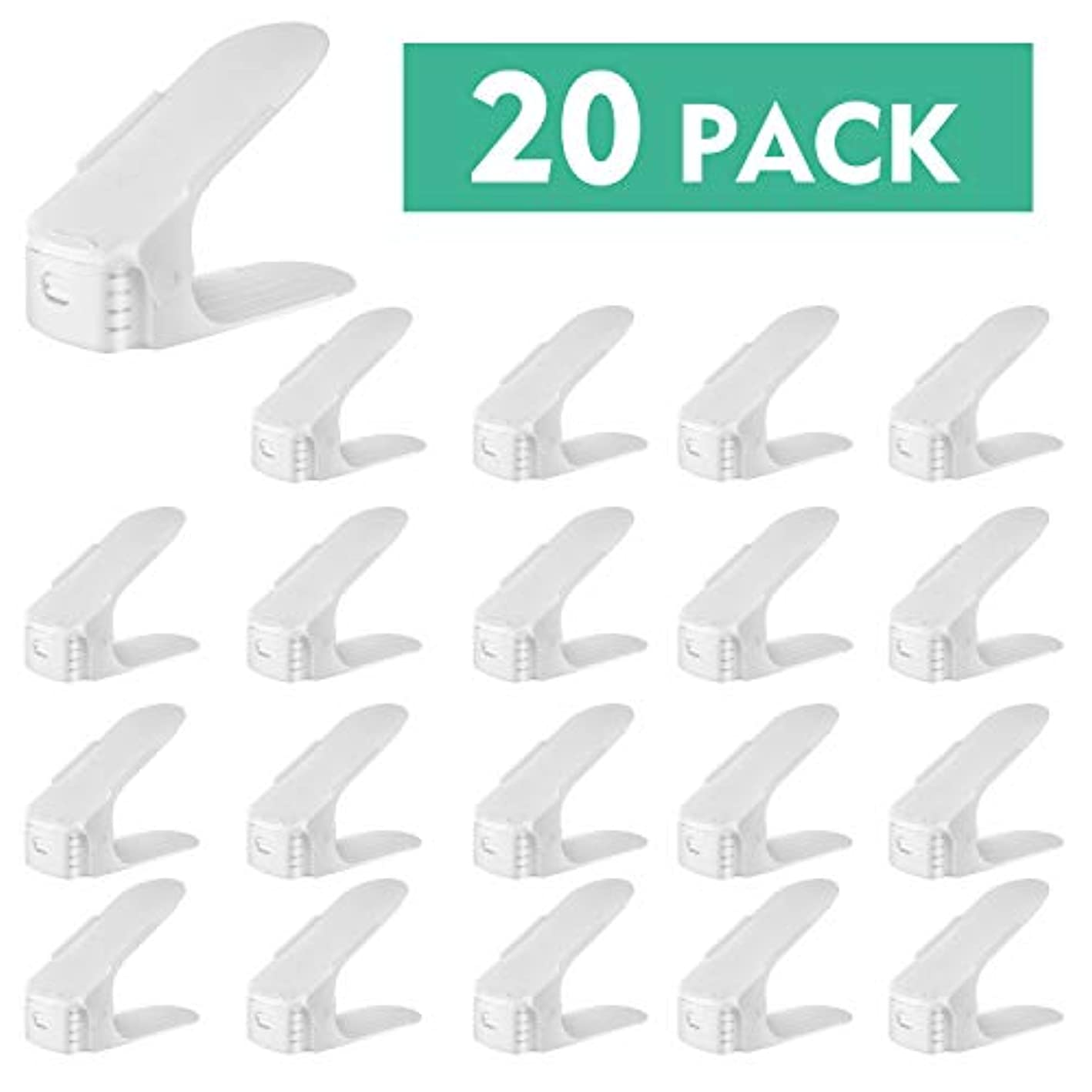 HEMBOR Shoe Slots?Organizer, 3 Step Adjustable Footwear Rack Holder, Double Layer Space Saver Storage Stacker, Suitable for Men's Women's High Low Shoes for Home Closet Indoor (20 Pack) (White)