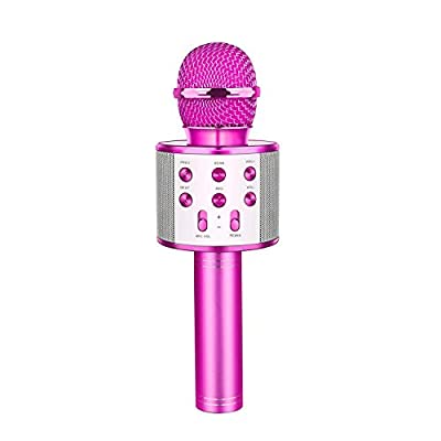 Wireless Bluetooth Karaoke Microphone, Tesoky 4 in 1 Portable Handheld Karaoke Machine Player Speaker Recording Microphone for Kids Adults, for Android/iPhone/PC (purple 1)