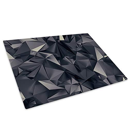 Black Geometric Cool Glass Chopping Board Kitchen Worktop Saver Protector