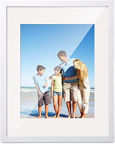 HOUSE DAY Marco de fotos 20x25 cm blanco, cuadros de exposición marcos de 13x18 con tapete o 20x25 sin tapete marco de madera con vidrio acrílico, para certificados fotográficos de pared o de pie