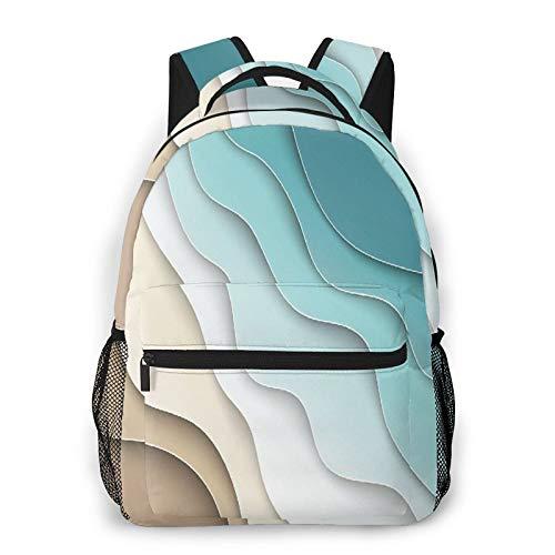 MEJX Mochila Paquete de Almacenamiento,Curva de degradado de color caqui azul y blanco elegante abstracto,Casual Bolsa de Estudiantes de la Escuela Mochila Portátil de Viaje