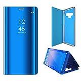 Galaxy Note 9 Hülle Luxus Clear View Stand Spiegel Flip PC + PU Abdeckung für Samsung Galaxy Note 9 2018 (Blau)