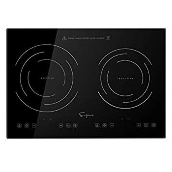 Empava IDC12B2 Horizontal Electric Stove Induction Cooktop with 2 Burners in Black Vitro Ceramic Smooth Surface Glass 120V 12 Inch