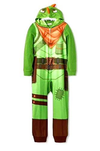 Epic Games Fortnite Youth Unisex Zippered Skull Trooper Union Suit Costume (14/16, Green)