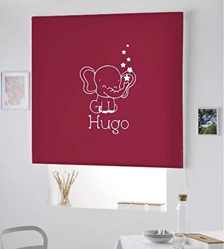 Desconocido Estor Iroa Personalizable Infantil/Elefante Hugo ¡ESTORES ENROLLABLES TRANSLUCIDOS! (150X230, Rojo Burdeos)