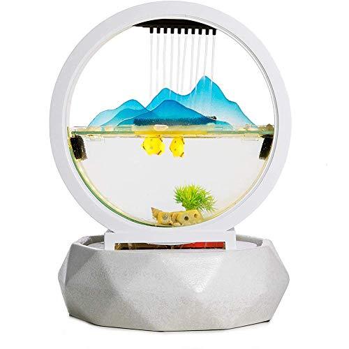 LXLH Fuente Interior de Cascada de Mesa, Regalo Fengshui para decoración de Paisaje de Oficina en el hogar, Elemento de diseño Anillo Blanco, rocalla de Vidrio, pecera de Vidrio semicircular, Cue