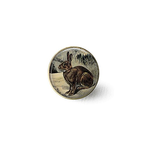 qws Antique Brown Rabbit German Lithograph by P. Mahler - Brown Hare Brooch - Rabbit Brooch - Nature Jewelry - Rabbit Lover Gift