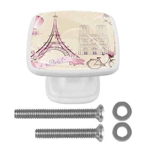 [4 piezas] pomos cuadrados para puerta de armario de armario de color vintage, diseño de Torre Eiffel de París
