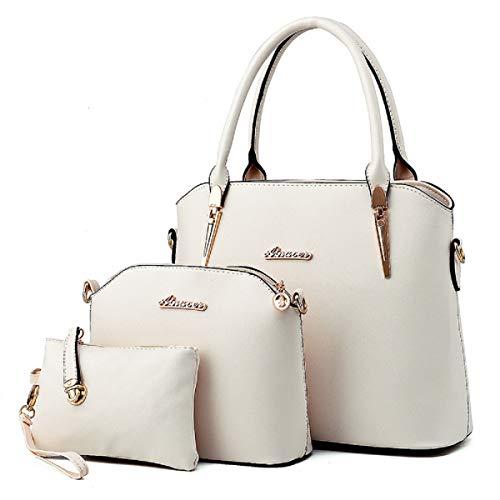 XingChen Damen Geldbörsen und Handtaschen Schultertaschen Damen Top Griff Umhängetasche 3PCS(Weiß)