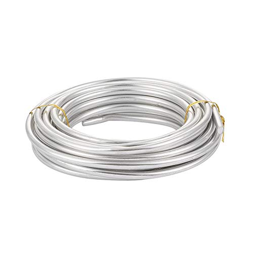 Pandahall 22 Feet Silver Aluminum Craft Wire 3 Gauge Bendable Metal Craft Wire for DIY Manual Arts Jewelry Making(Silver)