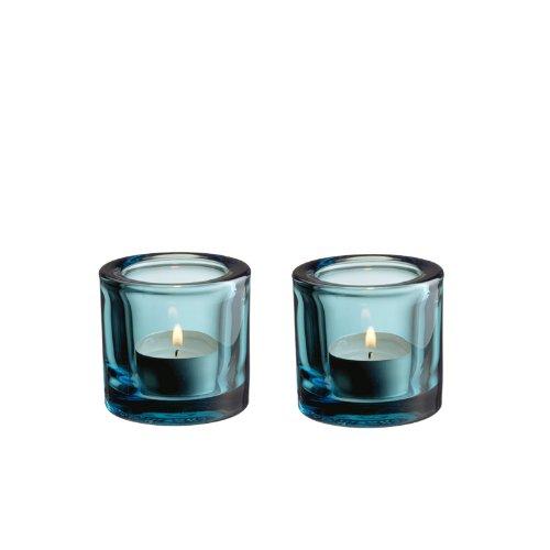 Iittala Lichter - Kivi - Design Heikki Orvola - Teelichter 2er Set Standard seeblau - 6 cm