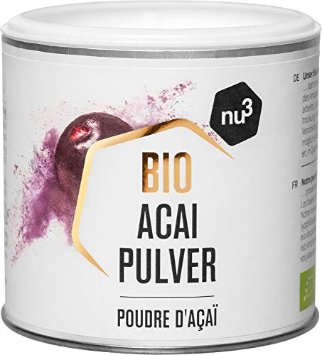 nu3 Poudre d'Açaï Bio 65g – Super ingrédient Bio - Riche en nutriments et idéal en smoothies et shakes protéinés – Excellent anti-oxydant originaire d'Amérique du Sud - Superfood riche en oméga 3